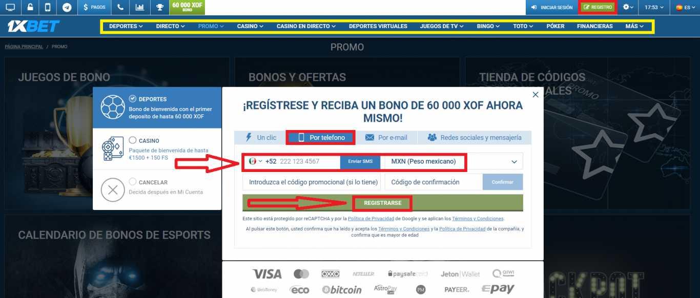 Clasificación del bono 1xBet apuestas